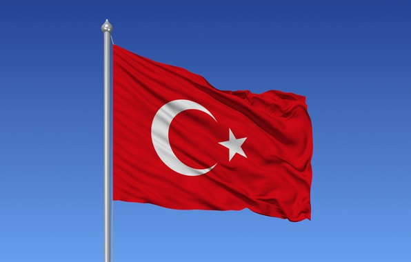 Picture sky, flag, Turkish flag