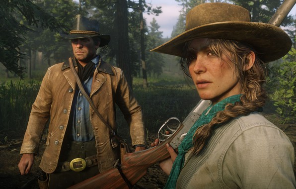 Picture forest, girl, hair, hat, braid, Rockstar, Bandit, Red Dead Redemption 2, Arthur Morgan