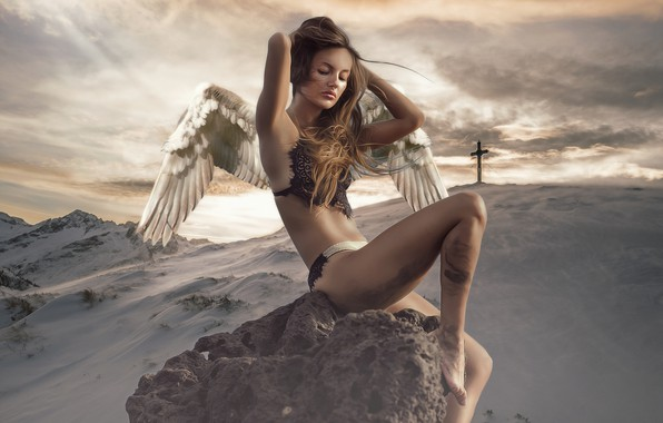 Picture winter, the sky, girl, clouds, snow, mountains, nature, pose, hair, stone, body, wings, treatment, cross, …