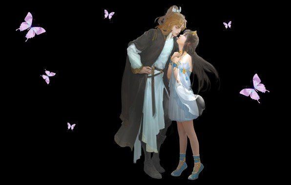 Picture love, kiss, anime, art, pair, date, Uh........, Du Hugh. Y