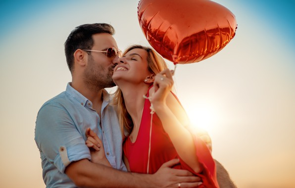 Picture girl, love, joy, happiness, heart, kiss, hugs, pair, guy, lovers