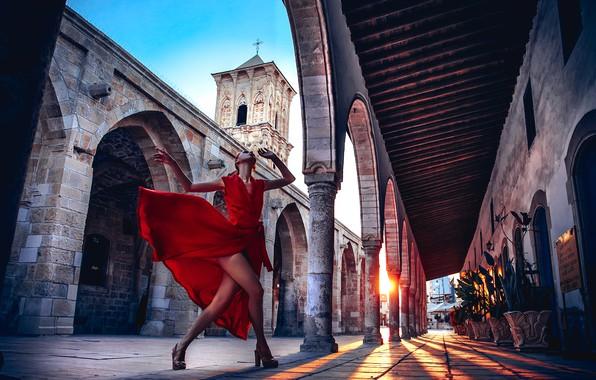 Picture girl, mood, dance, dress, Church, architecture, red dress, Cyprus, Axe, Larnaca, Ruslan Bolgov