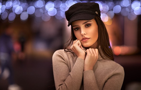Picture look, pose, glare, background, model, portrait, hands, makeup, hairstyle, cap, brown hair, beauty, jacket, bokeh, …