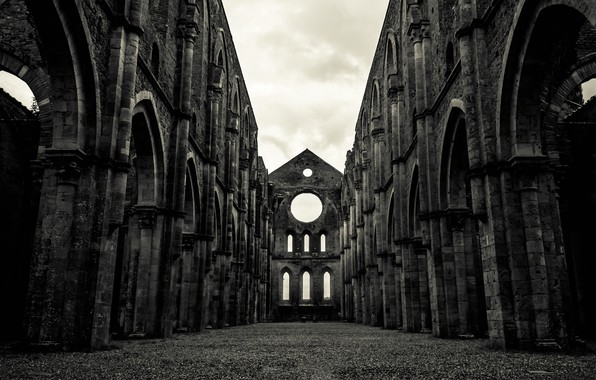 Picture Italy, the ruins, ruins, Tuscany, Abbey Of St. Galgano