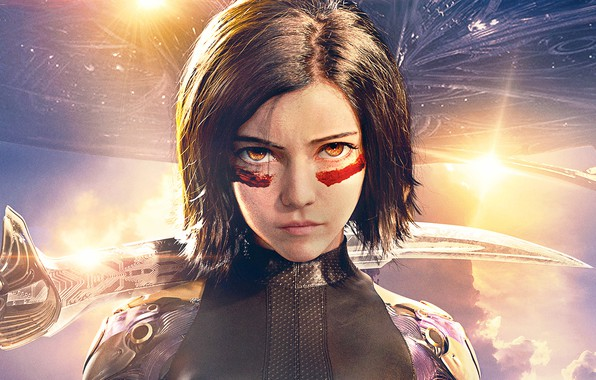 Picture the sky, look, girl, the sun, background, fiction, sword, armor, hairstyle, poster, spaceship, Rosa Salazar, ...