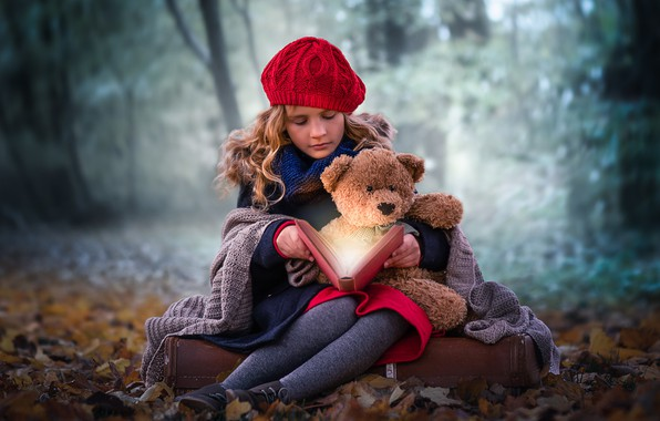 Picture autumn, forest, magic, girl, book, bear, plaid, takes, Teddy bear