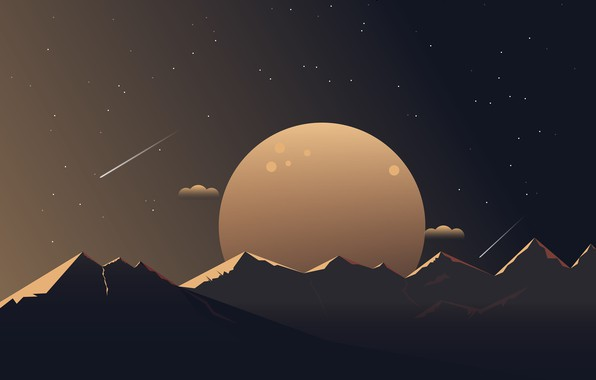 Picture stars, mountains, planet, minimalism