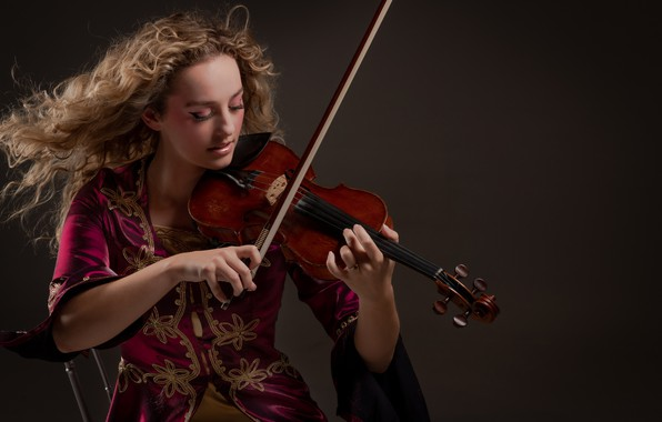 Picture girl, background, violin, hair