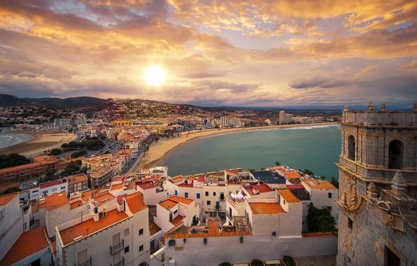 Picture sea, the sky, clouds, castle, coast, building, home, panorama, Spain, Spain, Valencia, Valencia, The Mediterranean …