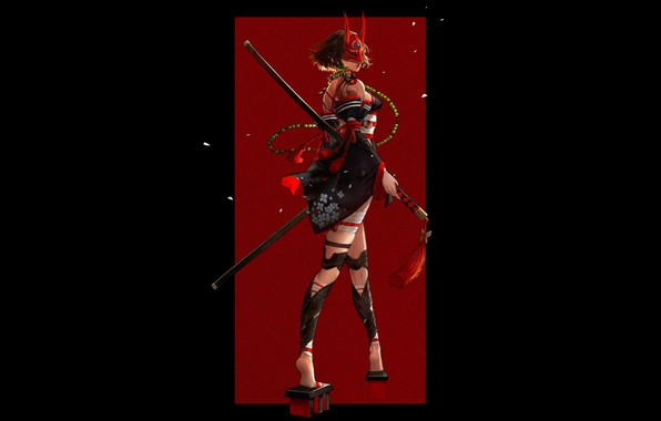 Picture red, girl, sword, fantasy, black, horns, legs, minimalism, weapon, katana, samurai, artwork, mask, warrior, fantasy …