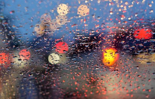 Picture glass, water, drops, lights, lights, rain, rain, night, bokeh, window, drops