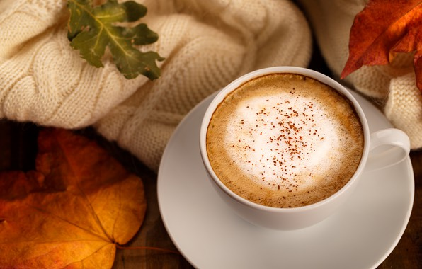 Picture autumn, leaves, background, colorful, scarf, wood, background, autumn, leaves, cup, coffee, autumn, a Cup of …