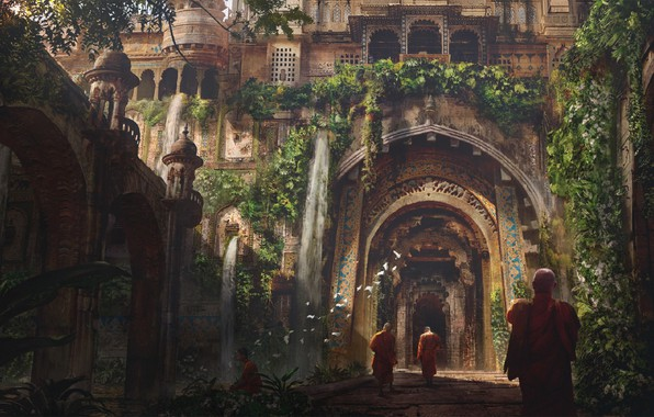 Picture road, birds, India, columns, arch, architecture, monks, buddah, by Eddie Mendoza, Buddhist temple