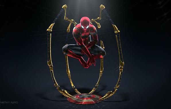 Picture fiction, web, art, costume, twilight, shield, superhero, comic, Spider-man, Spider-Man, Iron Spider, Mattia Ruffo
