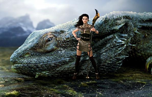Picture girl, monster, warrior, iguana, fantasy girl