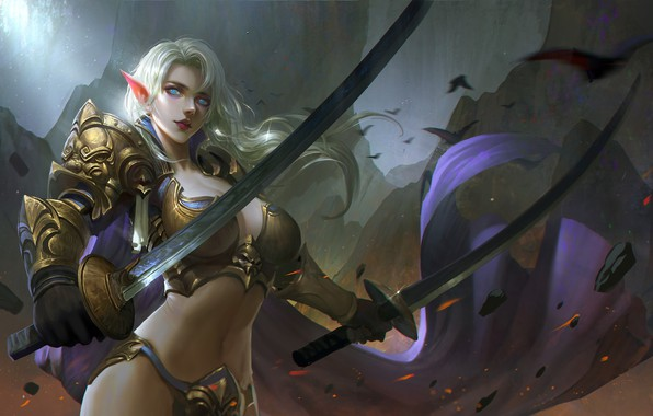 Picture girl, fantasy, cleavage, armor, blue eyes, weapons, blonde, artwork, warrior, swords, fantasy art, Elf, fantasy …