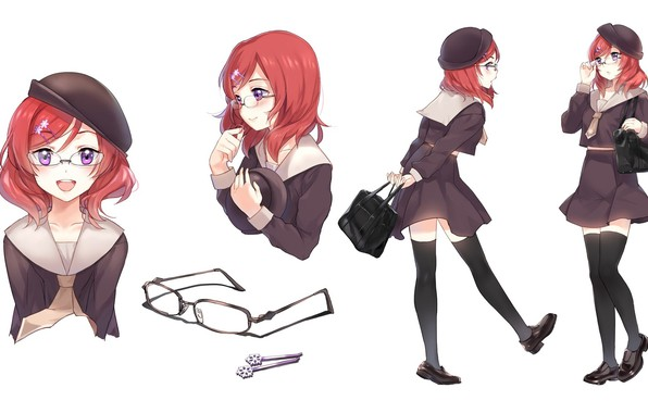 Picture smile, glasses, schoolgirl, bag, barrette, red hair, black stockings, sailor, Love Live! School Idol Project, …