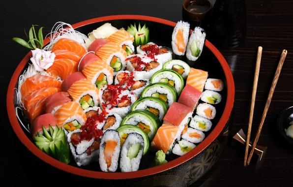Picture sticks, dish, rolls