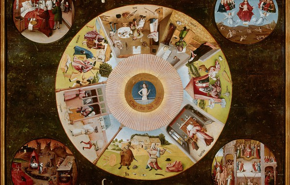 Picture countertop, The seven deadly sins, Hieronymus Bosch, 1480-1485