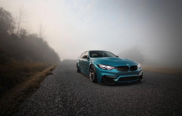Photo wallpaper BMW, Blue, Fog, F80, Sight, LED