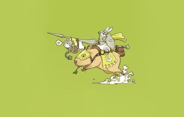 Picture Art, Warrior, Knight, Minimalism, Characters, Bunny, Ren Wei Pan, Capybara, Bunny knight