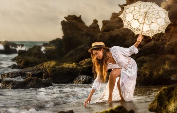 Picture sea, girl, pose, umbrella, mood, rocks, dress, hat, Alex Darash