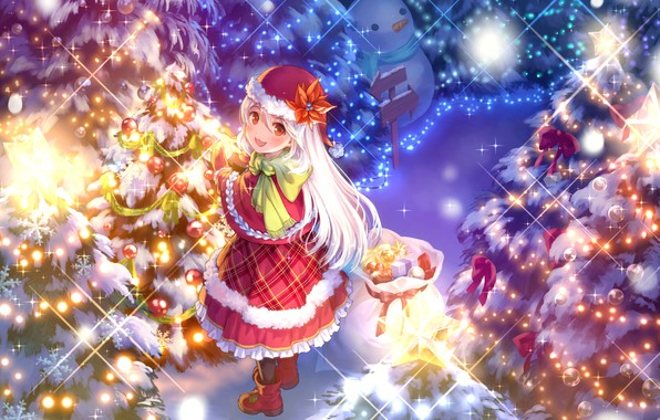 Picture winter, snow, smile, lights, hat, the evening, scarf, index, girl, fur, snowman, boots, Christmas decorations, …