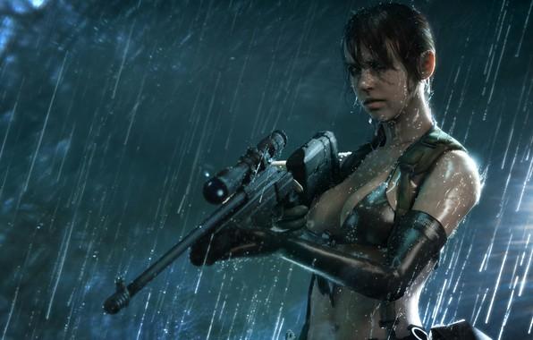 Picture girl, rain, the game, girl, sniper, game, metal gear solid, rain, sniper, bikini, quiet, videogame, …