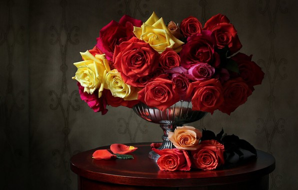 Picture roses, petals, vase, colorful, table
