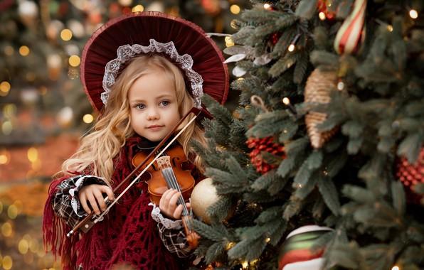 Picture violin, girl, tree, hat, Valentine Ermilova