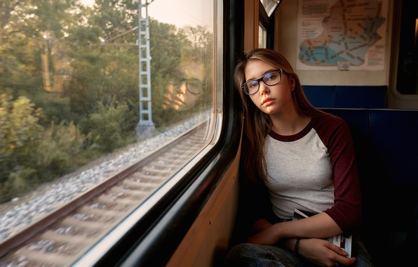Picture look, reflection, model, rails, portrait, jeans, makeup, Mike, glasses, train, hairstyle, brown hair, sitting, window, …