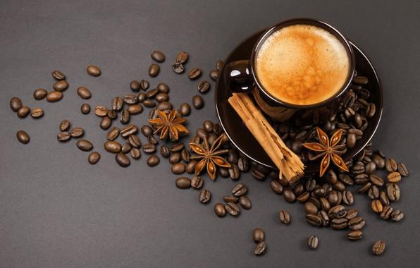 Picture coffee, grain, cinnamon, foam