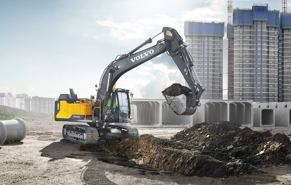 Picture earth, construction, Volvo, excavator, bucket, the ground, construction equipment, Volvo EC160e