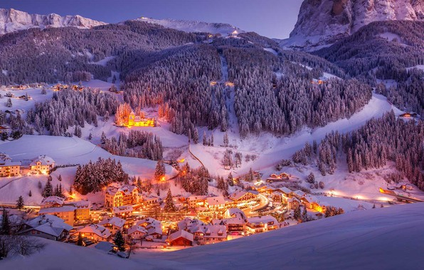 Picture winter, snow, mountains, lights, valley, Italy, The Dolomites, Val Gardena