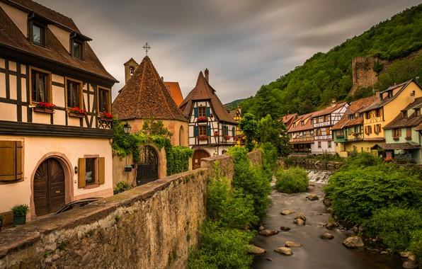 Picture landscape, river, France, home, municipality, Kaysersberg, Kaysersberg