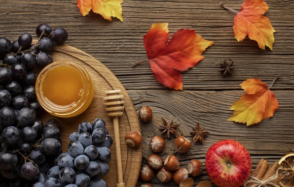 Picture autumn, leaves, background, Board, colorful, harvest, grapes, fruit, nuts, honey, maple, wood, autumn, leaves, hazelnuts, …