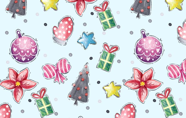 Picture background, holiday, blue, toys, new year, vector, texture, Winter, pattern