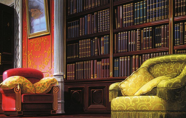 Picture comfort, books, picture, chair, pillow, library, art, Hayao Miyazaki, Spirited Away, Spirited away