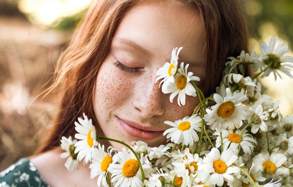 Picture girl, flowers, face, mood, chamomile, freckles, red, redhead, closed eyes, freckled, Elina Garipova