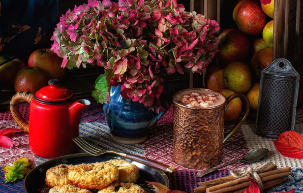 Picture leaves, flowers, apples, kettle, cookies, still life, cinnamon, hydrangea, hot chocolate, grater