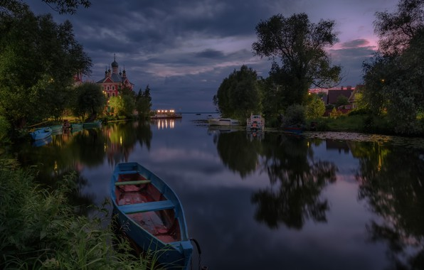 Picture landscape, night, nature, reflection, river, boats, temple, Bank, Andrei, Trubezh, Pereslavl