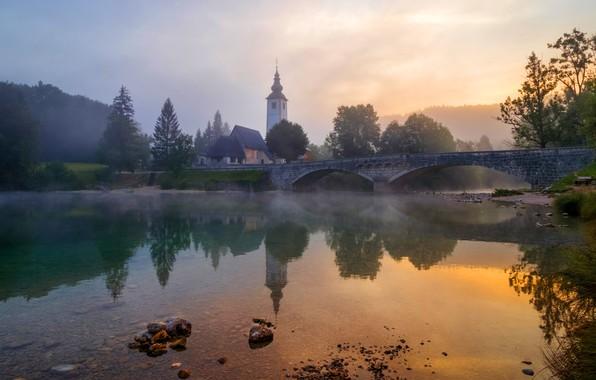 Picture the sky, trees, landscape, bridge, nature, fog, reflection, stones, dawn, shore, morning, Church, haze, temple, …