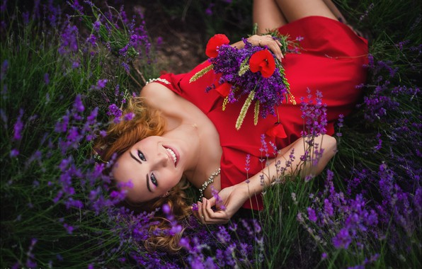 Picture look, girl, flowers, pose, smile, mood, bouquet, lavender, Alex Lett, red dress