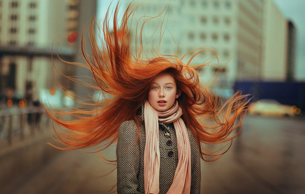 Picture the wind, girl, redhead, coat, Ahmed Hanjoul, The red hair