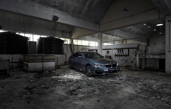 Picture grey, wall, BMW, sedan, concrete, 530i, 5, four-door, 5-series, G30