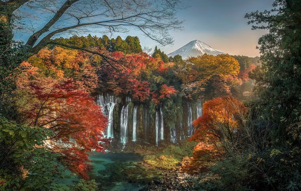 Picture autumn, leaves, trees, branches, the evening, Japan, Japan, waterfalls, autumn, waterfalls, with slightly overcast, Fuji, …