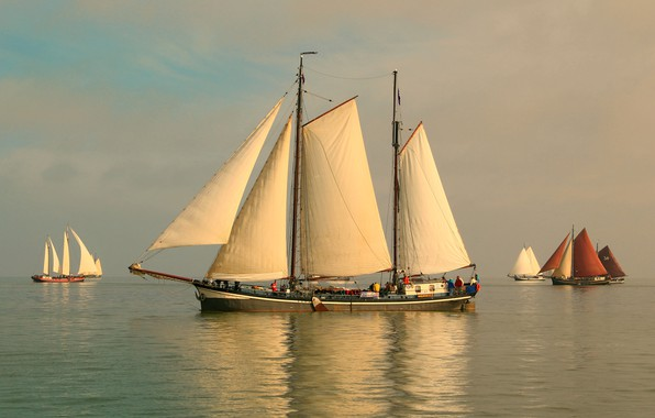 Picture sea, the sky, sailboats