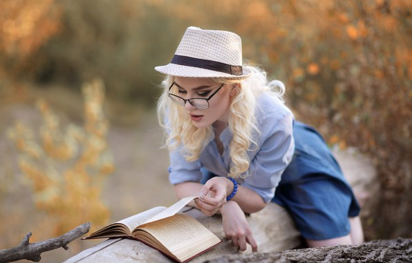 Picture girl, pose, mood, hat, glasses, blonde, book, log, curls, reading, Murat Kojahmetov