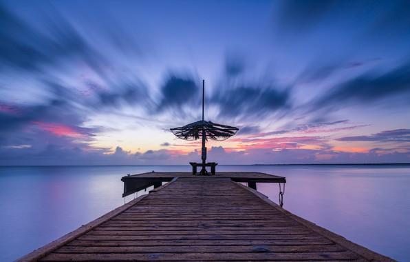 Picture sea, sunset, pierce