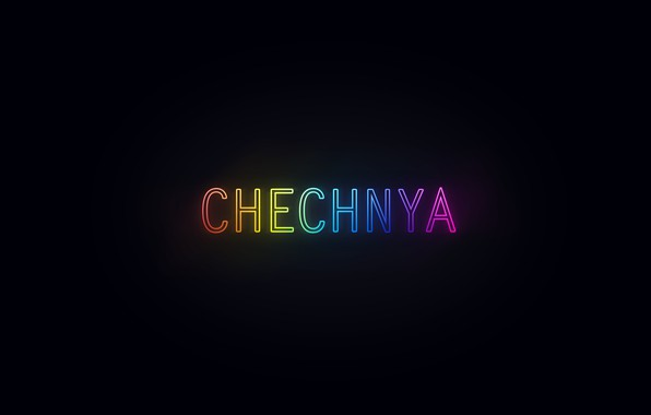 Picture rainbow, black, neon, chеchnya